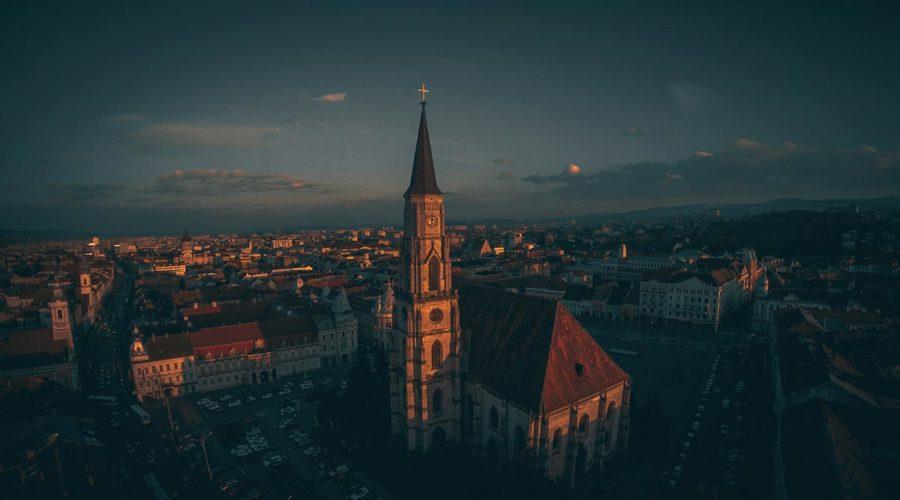 Black Church aerial view lanscape Brasov Romania