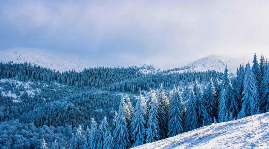 Winter mountain lanscape Romania